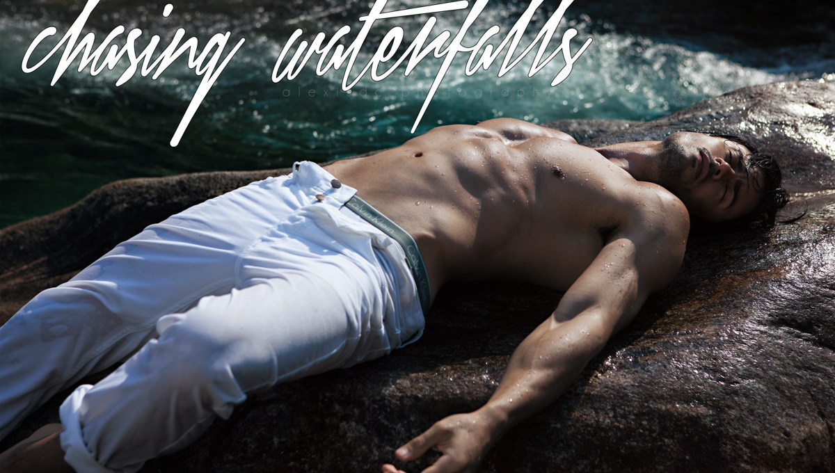 """""""Chasing Waterfalls"""" stunning work by Alexis Dela Cruz with handsome newcomer Erich Revoredo from Glam Management Brazil and Karacter Models at Portugal, it was shot in the Swiss Alps and the clothes they used are from Calvin Klein and Zara."""