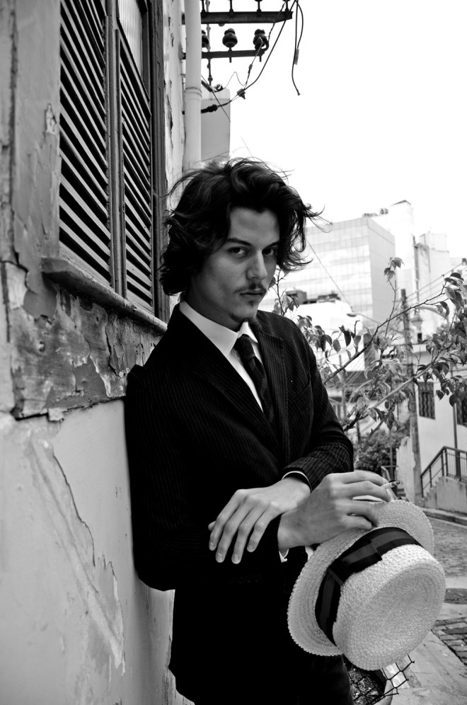 """No he's not Johnny Depp! Surprising by it in how much he's look-a-like a healthier version of Depp, he's Felipe Fabrizzi a young Brazilian male model represented by 40 Graus Models playing """"The Vintage Malandro""""  a work in exclusive for Fashionably Male by Felipe Pilotto. Style: Fine and Dandy NY"""