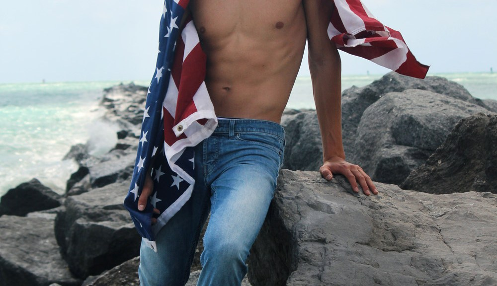 "Presenting the second part of the entitled project work ""Murica"" by photographer Rubén de Peña with stunning male model Gordon Winarick a beautiful face signed by Elite Model Miami."