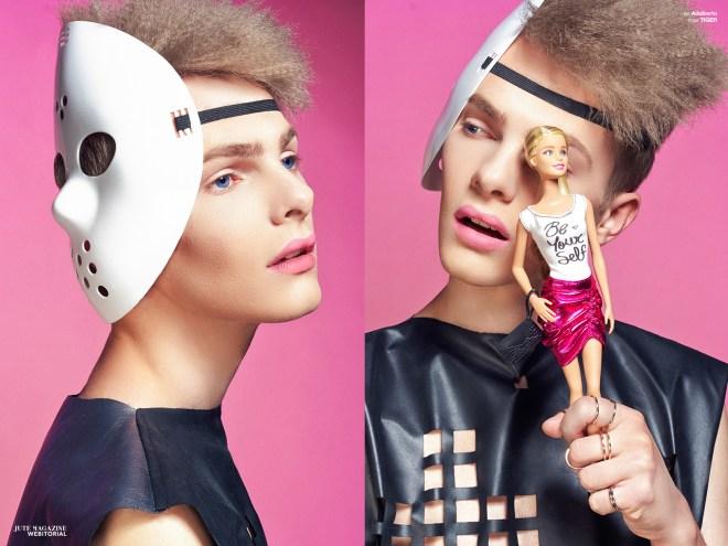 "Gracjan Pleskaczewski from Orange Models posing for Wojciech Jachyra for a fashion editorial entitled ""God Bless the Barbie's"" for Jute Magazine."