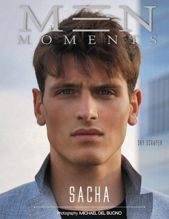 Men Moments Magazine presents new cover for July 2015 Issue with model Sacha Legrand in a photography taken by Michael Del Buono. Styled by Michael Fusco. Grooming Holly Eve.