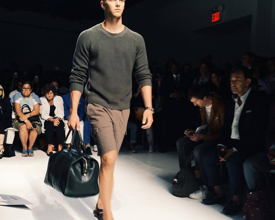 Todd Snyder took a trip to Capri for spring, pushing the lineup into very leisure-inspired territory with hibiscus-print shorts and safari jackets, soft linen drawstring pants and indigo terry cloth polos.