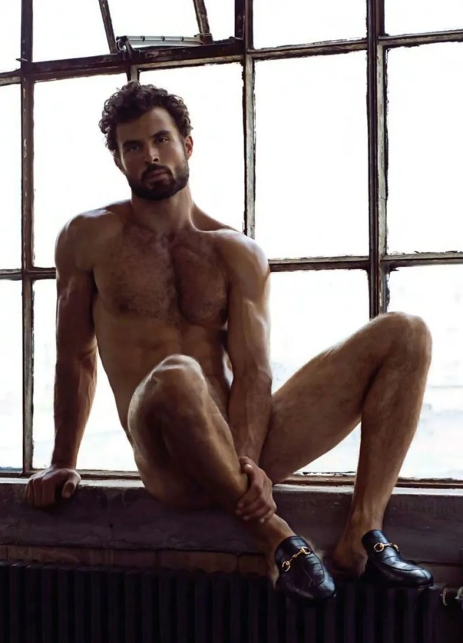 """Photographed by Greg Vaughan, here's Walter S. in """"The Exhibitionist"""" for OUT Magazine. Walter wore almost nothing in this photoshoot, still some beautiful pieces can be seen e.g. sunglasses from Lacoste, sneakers from DIOR Homme, fur hat from DSQUARED, blanket from Hermes and Louis Vuitton, watch from Versace"""