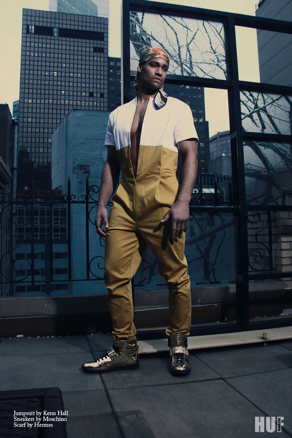 """Photographer Sailey Williams captured male model Deric Mickens at Soul Artist Management for an exclusive editorial entitled """"Way Up"""" for HUF Magazine, shot location in the Big Apple.  Stylists: Chad Groom and Llewellyn Jenkins for THE STYLEMONSTERS Grooming: Griselle Rosario for Sigma"""