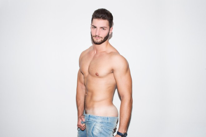 Dashing sexy model Federico Venturelli stops by the studio of photographer Freddy Krave for eye-catching portrait session.