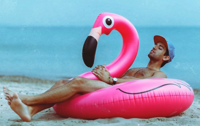 """""""The Pink Flamingo by Christopher Marrs."""" The series was created as a somewhat tribute to the end of summer. All images in the series are completely exclusive and Robert and I were hoping that you would debut the images to the world."""