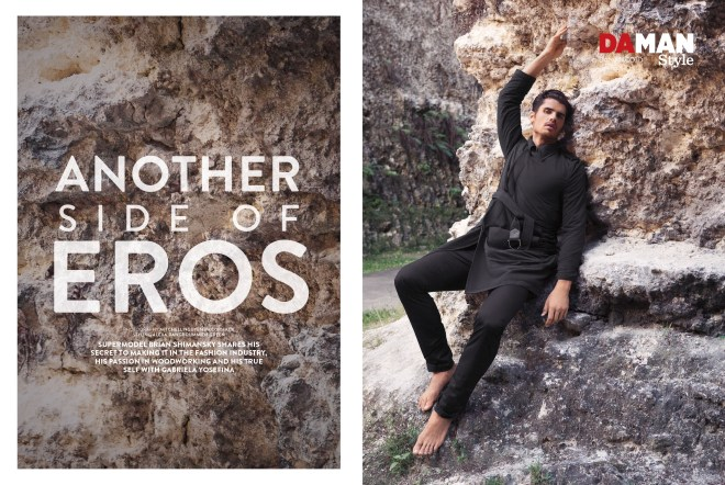 "Bryan Shimansky starring new cover and fashion editorial for Da Man Style | F/W 2015 portrayed by Mitchell Nguyen McCormack and styled by Alexa Rangroummith Green. Entitled ""Another Side of Eros"" and yes we can see why Shimansky is Eros."