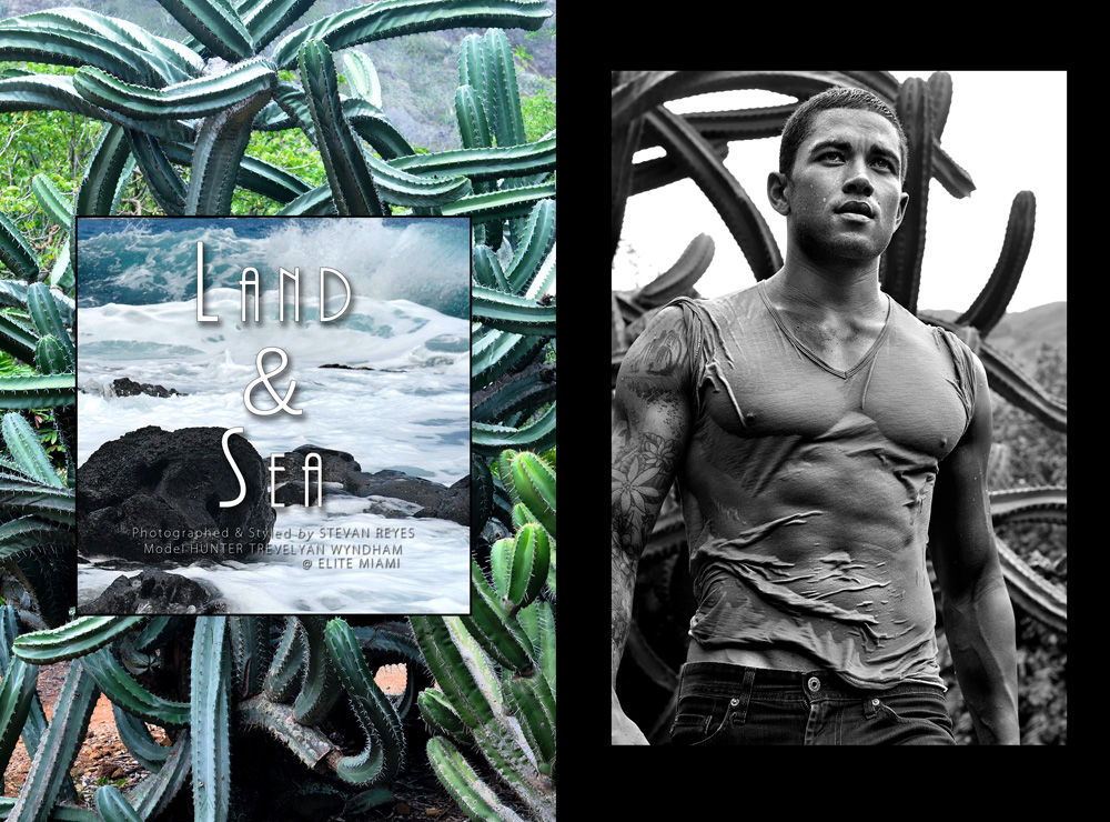 """What a beauty! glad to present in an exclusive for Fashionably Male """"Land & Sea"""" a stunning work by fave photographer Stevan Reyes, introducing a real male beauty Hunter Trevelyan Wyndham at Elite Models. completely shot at Hawaii."""