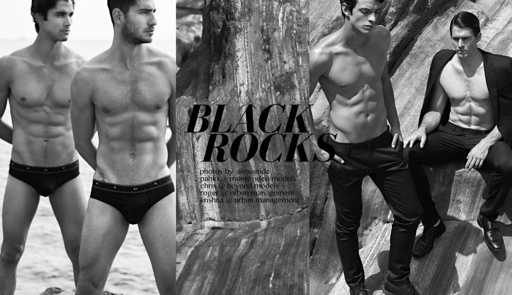 """""""Black Rocks"""" is the new wave of boys captured by talented photographer Alexis Dela Cruz with newcomers Chris @ Beyond Models, Krishna @ Urban Management, Pablo @ Montevideo Models and Roger @ Urban Management. The clothes that were used were Calvin Klein, Armani, Zara and Bench by Michael Cinco."""