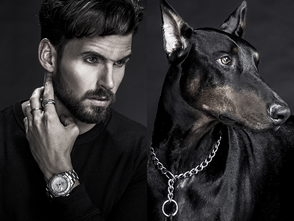 """""""Dogs are a man's best friend"""" isn't just a saying """"Connected"""" is proofed by photographer Cooper Penn, styled by Ryan Wharton, starring this stunning submission is model Charlz Alexander Chalmers. Make up by Jamie Kimbrough."""