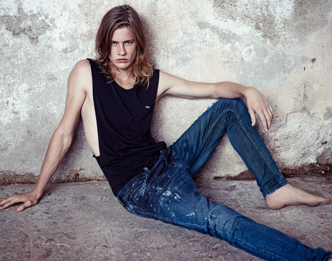 Promotional pictures Diesel Denim S/S 2015 Lookbook starring by James Phillips.