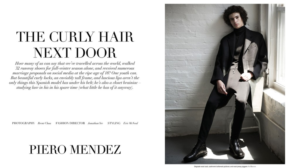 """A Throwback editorial Top Model Piero Mendez by Photographer Brent Chua, fashion Director by Jonathan Yee and styling by Eric McNeal for Manifesto October 2015. """"The Hair Next Door""""."""