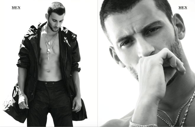 This is a really magistral work by photographer Brent Chua featuring handsome male model Kevin Sampaio for Men Moments Magazine. Fashion editor by Nuno Bacelar, styling by Eric McNeal, Wardrobe by Cadet USA.