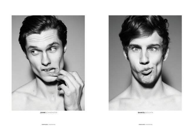 """""""WHY SO SERIOUS?"""" - Some of the Male Models photographed by Dennis Weber during Milan Fashion Week (Fall/Winter [2013]) for The Ones 2 Watch - The Lighten Up Issue."""