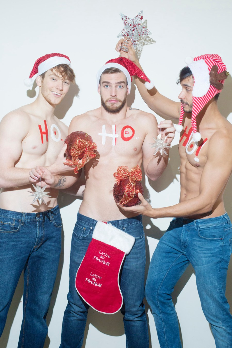 All we want is a ho-ho-hot Xmas, introducing an exclusive Christmas theme shot with 3 stunners first the sexy Daniel Sisniega from Contempt Models, and hotties Rey Ocando & Jonathan Clark by BANG! Management captured by talented Luis de la Luz, with M&H by Gio Lozano and Production & Assistant by Eric Rivera.
