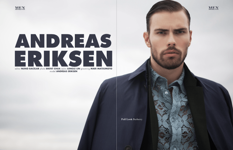 Model Andreas Eriksen is modeling in new editorial for Men Moments photographed by Brent Chua, styled by Jungle Lin, grooming by Mari Matsumoto.