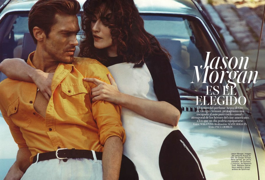 In this editorial for Glamour Spain talking about of super model Jason Morgan who's the face of Aqua di Gio by Giorgio Armani, starring on free escapade casual and unseasonal like American actors. Shot by Sergi Pons and Fashion editor: Maite Holguin.