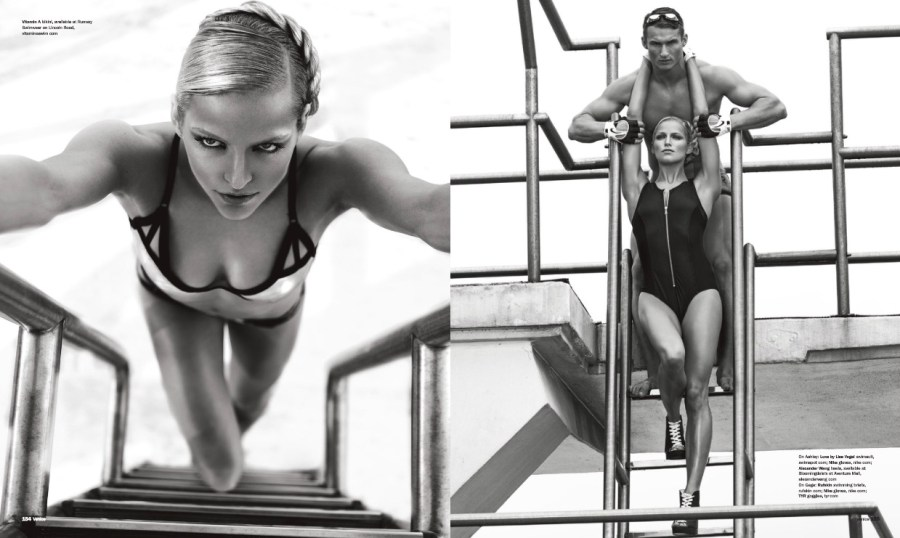 Swimwear goes retro this season, staging a comeback at the Fort Lauderdale Aquatic Complex. Shot by George Kamper and styling by Danny Santiago. Models are Ashley Novak / Wilhelmina Models, Gage Smith and Frank Englund from Elite Models.