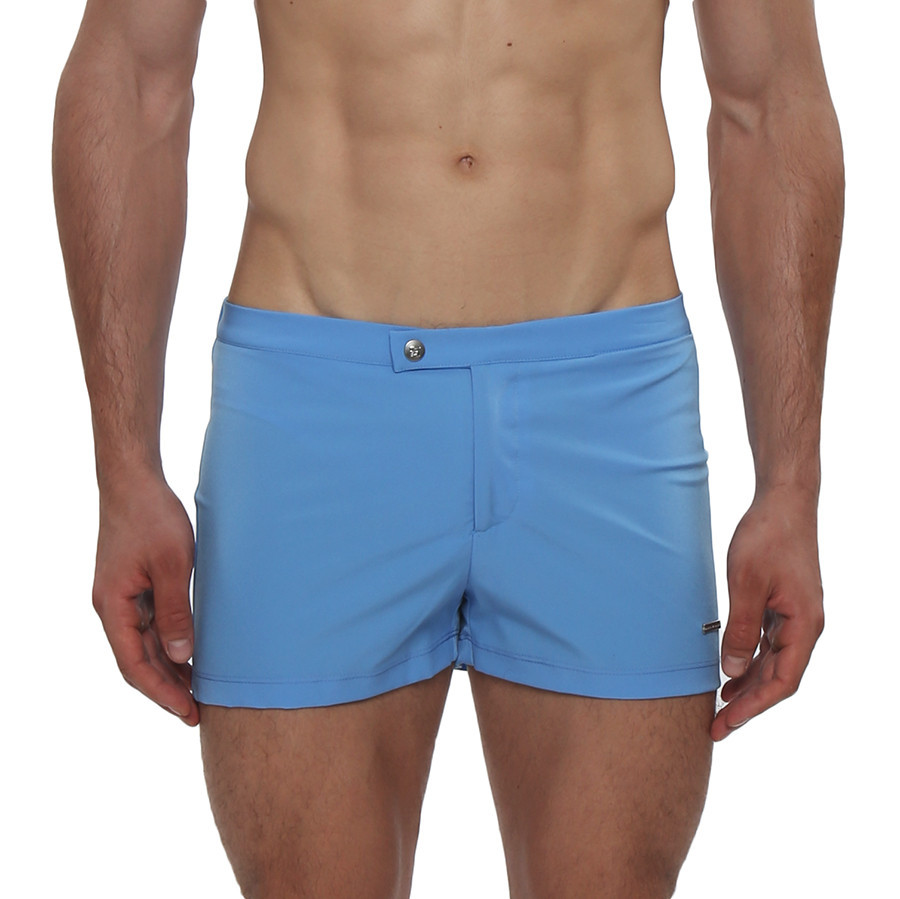 The Lancaster Swim Trunk is a retro inspired, sophisticated, square-cut with a 2 inch inseam. Perfect for the style icon on the beach. This swim trunk has a sexy low-rise, coin pocket, fly front closure with snap, and full mesh lining.