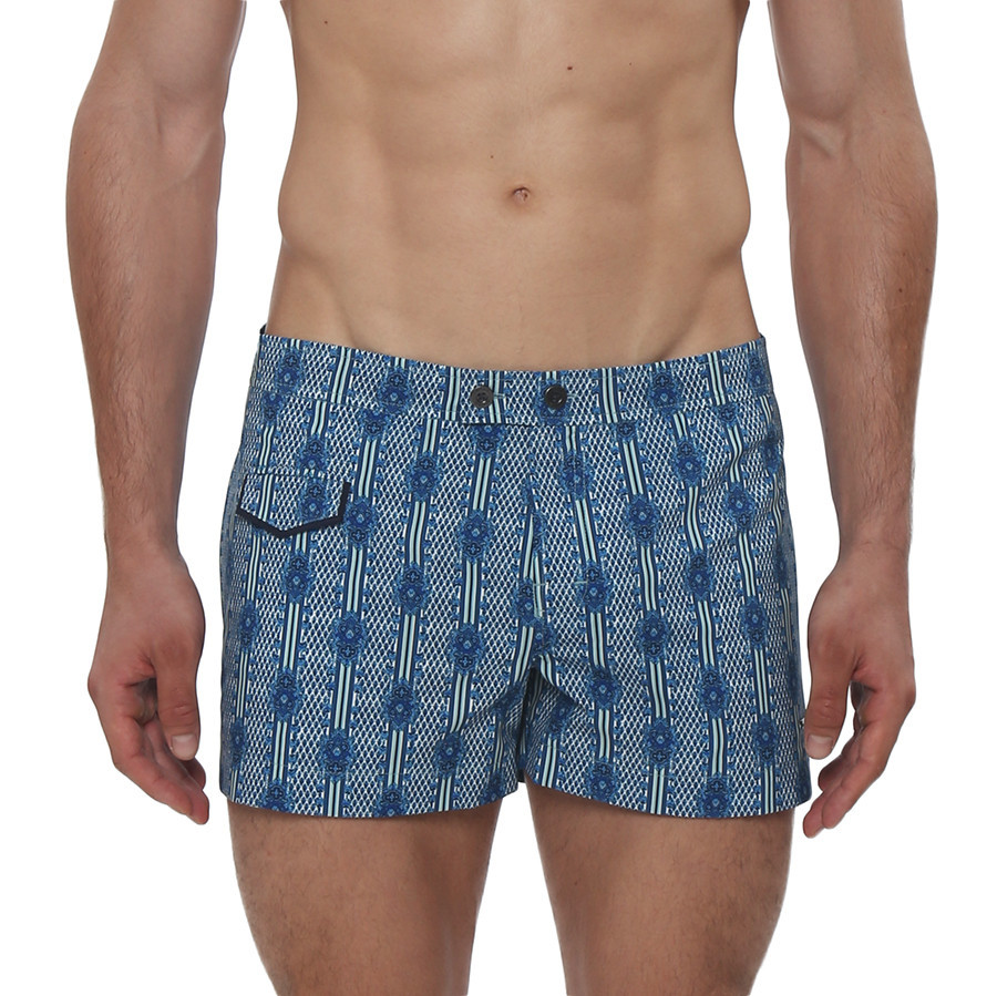 """The Jimi Print Lido Swim Trunk is a fashionable retro inspired, swim trunk with a unique print in a 3"""" inseam. This swim trunk has a sexy low-rise, contrast color piping, front coin pocket, side pockets, fly front closure with a logo snap button, and full mesh lining."""