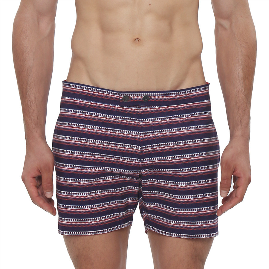 Our take on the 70's tennis short. The Ravi Print Lido swim suit features a custom engineered print that will look great on any beach. This comfy, tailored swim trunk features a double button closure with logo, front coin pocket, side pockets, low-rise and full mesh lining. The Lido Swim Trunk has all the comfort you'll need in a stylishly relaxed cut with a 5 inch inseam.