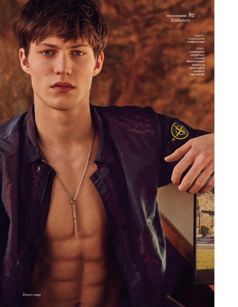 Boyd Gates lensed by Bruno Staub and styled by Ylias Nacer, for the Spring/Summer 2016 issue of Vogue Hommes.