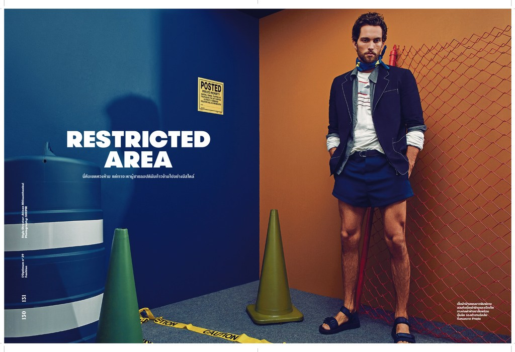 """""""Restricted Area"""" for L'Optimum Thailand March 2016 issue. Stars Tobias Sorensen (IMG Models) and Torin Verdone (VNY Models) captured by Director/Fashion photographer based in NYC SHXPIR. Styled by DaVian Lain."""