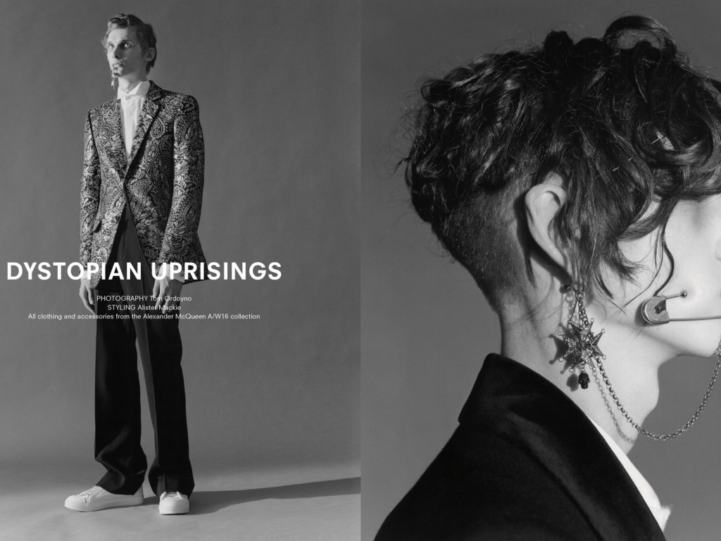 """""""Dystopian Uprising"""" Photographer: Tom Ordoyno, Stylist: Alister Mackie for AnOther Man Spring/Summer 2016. All clothing and accessories by Alexander McQueen F/W 2015-16 Collection."""