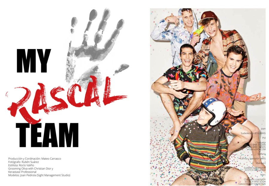 """""""My Rascal Team"""" stars by Joan Pedrola at Sight Management, Marc, Humbert and Pol. Production by Mateo Carrasco, shot by Rubén Suárez, styled by Rocío Valiño, grooming by Olivia with Christian Dior and Kerastase Professional."""