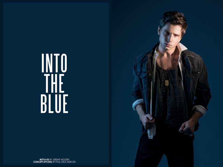 """New collaborative photoshoot with Russian model Mitya Ku shot by Jeremy Holden teamed up with stylist Paul dela Merced dubbed """"Into The Blue"""". Apparel consisted of a variety of brands ranging from ZARA, Calvin Klein, Prada & Saint Laurent."""
