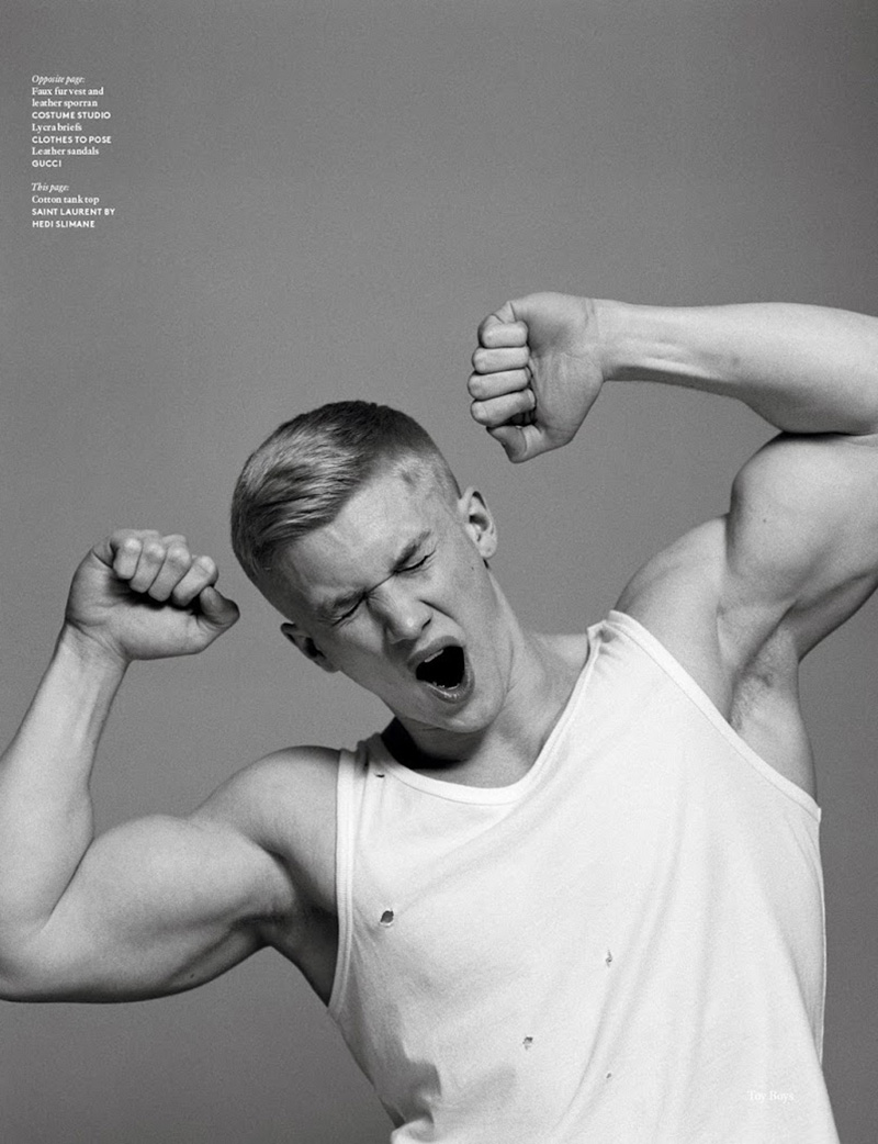 'Toy Boys' Zac Aynsley and Dan Scoble get physical in this editorial for the SS16 issue of Vogue Hommes International. The beefcake fitness models and personal trainers are photographed by Alasdair McLellan, styled by Benjamin Bruno.
