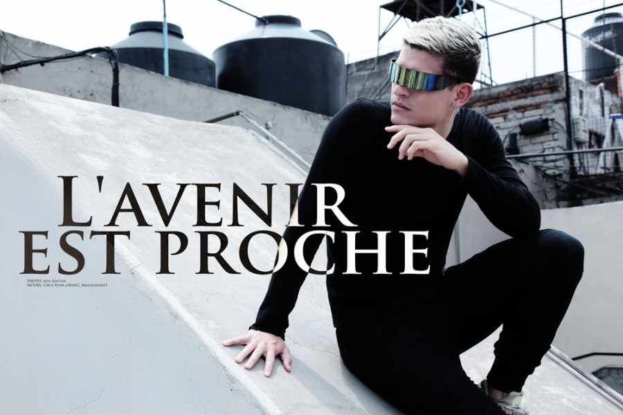 """L'avenir est proche"" is the exquisite work by photographer Afif Kattan featuring newcomer Cruz Ayon from BANG! Management, based in Mexico City over some roof top."