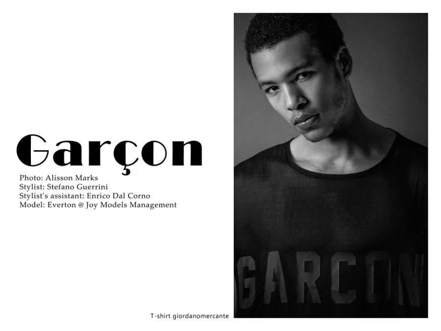 New model Everton from Joy Models Management is the new 'garçon' muse by photographer Alisson Marks, styled by talented Stefano Guerrini. Stylist's assistant by Enrico Dal Corno.