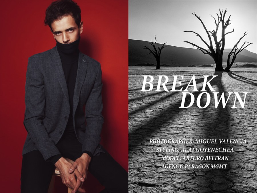 """Presenting for the first time in Fashionably Male, the work of visonary photographer Miguel Valencia featuring for the first time Arturo Beltran from Paragon Models, titled """"Breakdown"""" the work is styling in beautiful garments by Alai Goyenechea."""