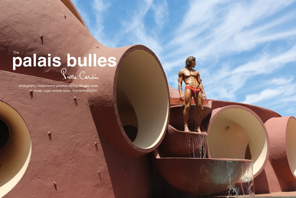 "Rufskin released the entitled story ""The Palais Bulles of Pierre Cardin"" starring by Logan Swiecki-Taylor, shot by Hubert Pierre Pouches and styling by Douglas Coats with garments by RUFSKIN"