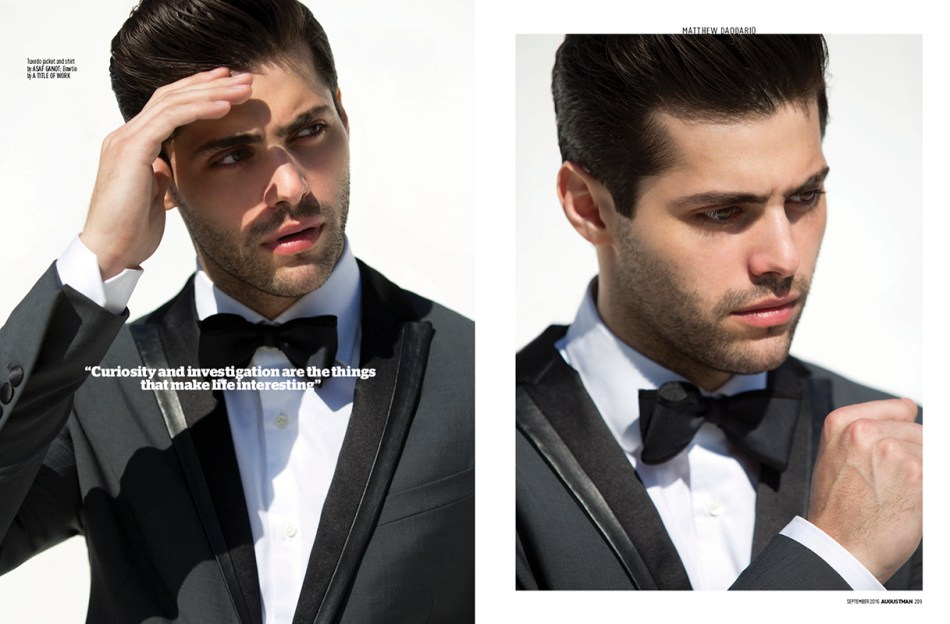 "Shadowhunters TV star American actor Matthew Daddario surprisingly good is our ""Italian Inspiration"" in the new fashion editorial for AugustMan Malaysia shot by fashion photographer Karl Simone."