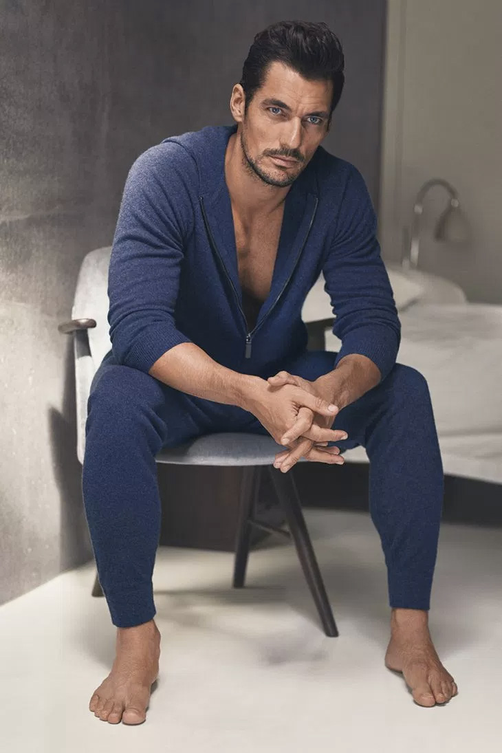 David Gandy unveiled another collaboration with Marks & Spencer of nightwear and loungewear pieces. For the promotional photos, the model teamed up with Hunter & Gatti.