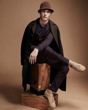 Boglioli shirt, wool two-piece suit and coat; Pierre Cardin wool hat.