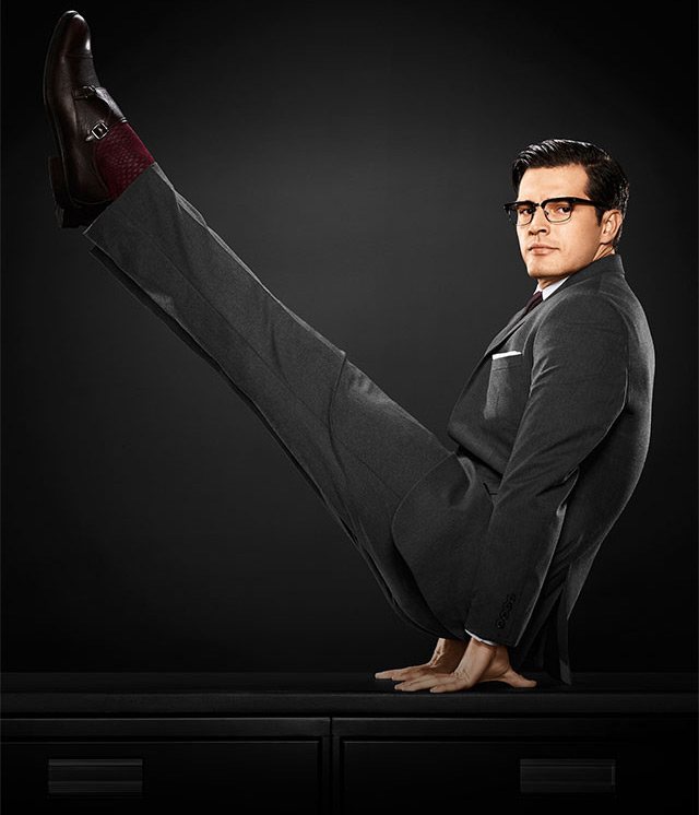 Become an office champion. The Van Heusen Flex Collection (which started with the revolutionary Flex Collar) now includes suit separates, pants, and sport shirts. The freedom to move is now yours… Model Diego Miguel and his flexing skills performing in new ads for Flex Collection by Van Heusen, collection now available on its website.