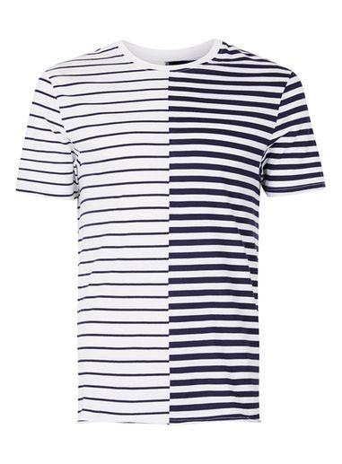 Mens White Navy Stripe Spliced T-Shirt