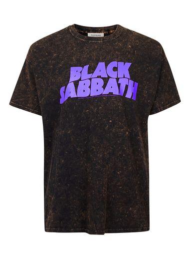 Mens Brown TOPMAN FINDS Black Tie Dye Black Sabbath T-Shirt