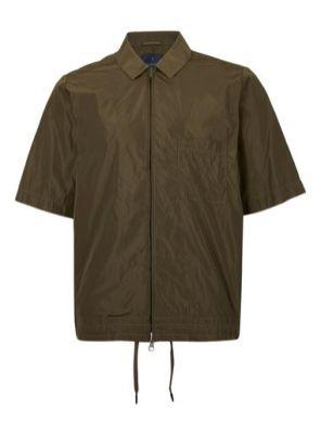 Mens GREEN LUX Khaki Zip Through Boxy Short Sleeve Shirt