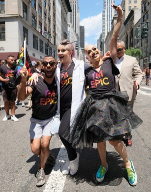 Kelly Osbourne (C) and guests attend the New York City Gay Pride 2017 march on June 25, 2017 in New York City.