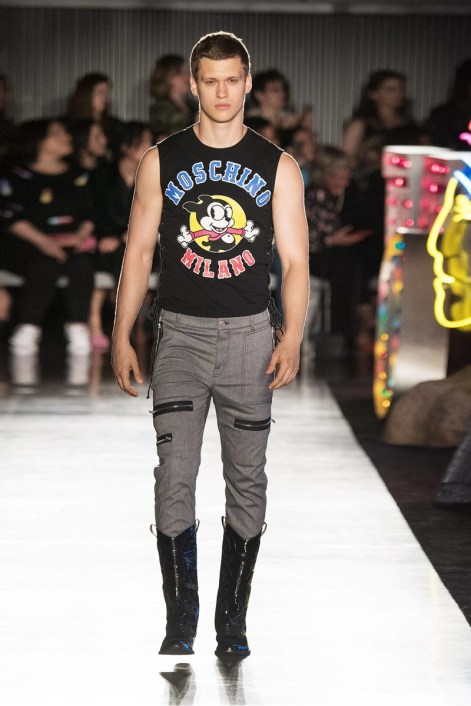 walks the runway at Moschino Spring/Summer 18 Menswear and Women's Resort Collection at Milk Studios on June 8, 2017 in Hollywood, California.