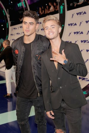 Jack Gilinsky (L) and Jack Johnson of Jack & Jack attends the 2017 MTV Video Music Awards at The Forum on August 27, 2017 in Inglewood, California.