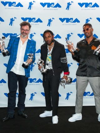 Kendrick Lamar, Dave Meyers and Dave Free attends the 2017 MTV Video Music Awards at The Forum on August 27, 2017 in Inglewood, California.