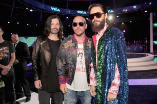 (L-R) Tomo Milicevic, Shannon Leto, and Jared Leto of Thirty Seconds to Mars attends the 2017 MTV Video Music Awards at The Forum on August 27, 2017 in Inglewood, California.
