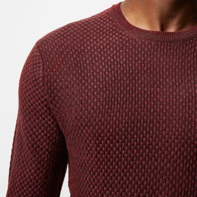 River Island Mens Red textured wool knit sweater