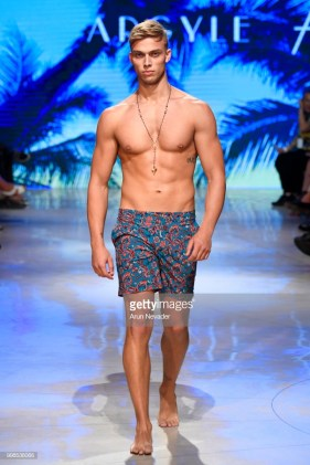 A model walks the runway for Argyle Grant at Miami Swim Week powered by Art Hearts Fashion Swim/Resort 2018/19 at Faena Forum on July 13, 2018 in Miami Beach, Florida.