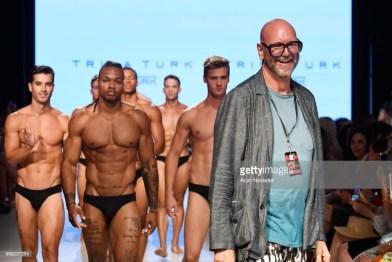 A model walks the runway for Trina Turk at Miami Swim Week powered by Art Hearts Fashion Swim/Resort 2018/19 at Faena Forum on July 14, 2018 in Miami Beach, Florida.